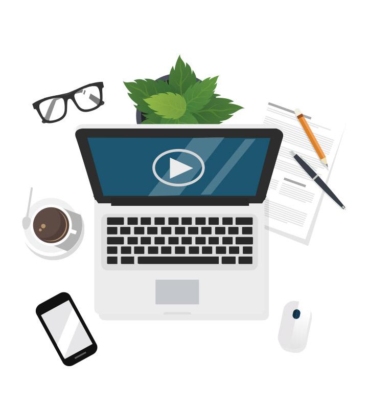 Illustration d'un ordinateur portable avec une plante au-dessus, un téléphone intelligent, une tasse de café, une souris d'ordinateur, une paire de lunettes, du papier et des crayons.