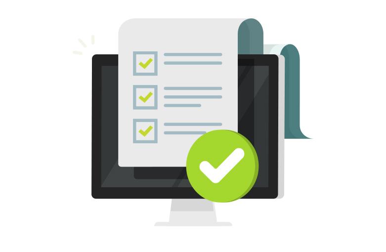 Illustration d'un ordinateur portable avec une feuille de liste de tâches incrustée.