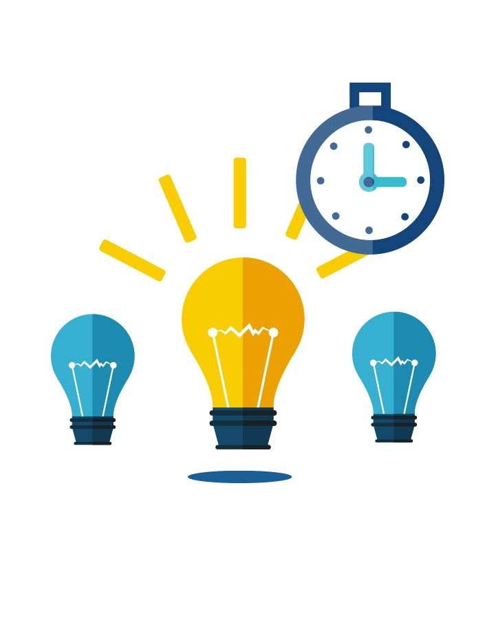 Illustration représentant trois ampoules et un chronomètre.