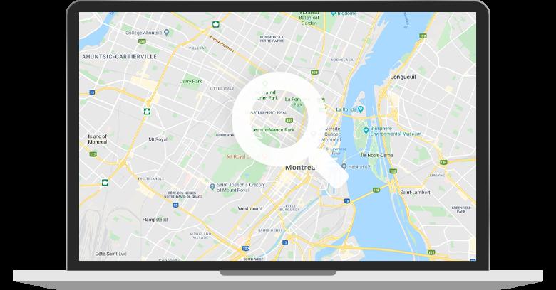 Illustration d'un écran d'ordinateur portable avec une carte géographique insérée dans l'écran.