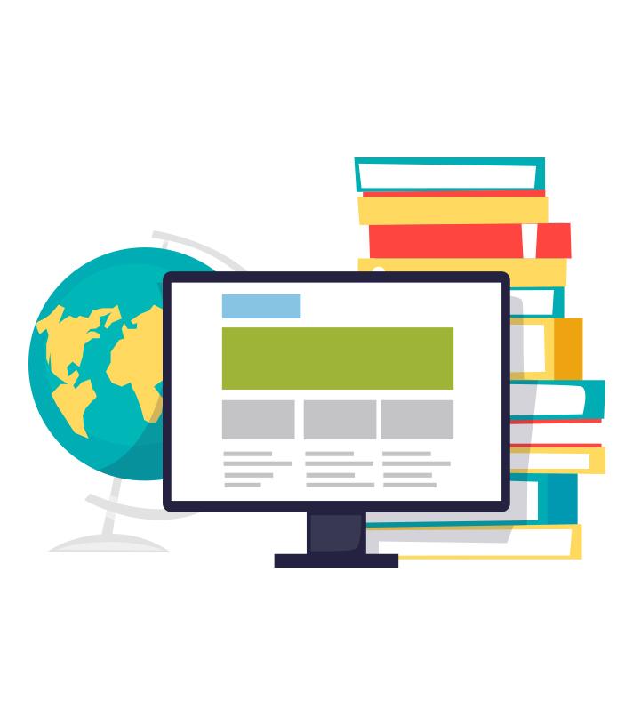 Illustration d'un ordinateur portable avec un globe terrestre et une pile de livres