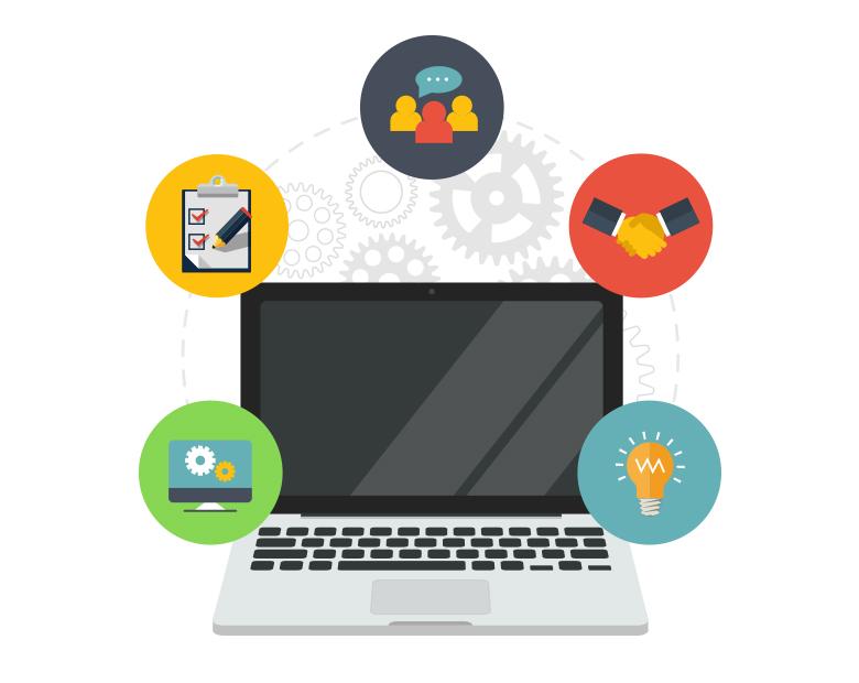 Illustration d'un ordinateur portable avec icônes autour.