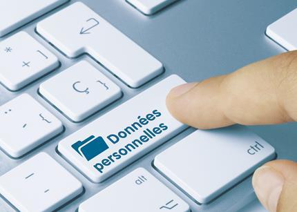 Clavier d'ordinateur avec une touche ''Données personnelles''