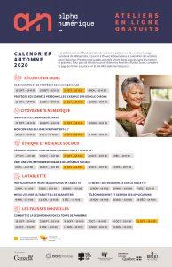 AlphaNumérique : affiche de la programmation générale activités en ligne automne 2020