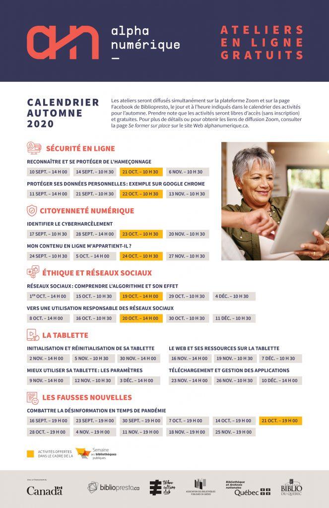 AlphaNumérique.ca : affiche programmation activités en ligne automne 220